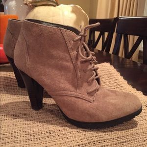 Lace up suede lace up booties